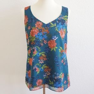 cabi Still Life Teal Floral Sleeveless Top Small